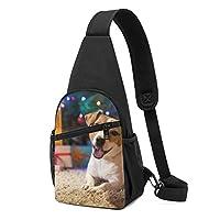 犬のクリスマス ワンショルダーバッグ クロスボディバックパック ボディバッグ 斜めがけ バッグ おしゃれ 男女兼用 軽量 大容量