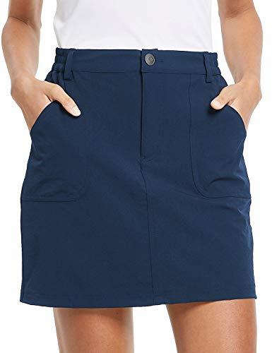 BALEAF Women's Pockets Skirts Casual Skorts Athletic Casual Skort Skirt with Zipper Pockets Outdoor Blue L