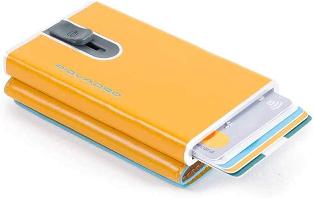Piquadro, portacarte di credito compatto, portafoglio unisex, in metallo e pelle, con protezione rfid PP4891B2R-G8