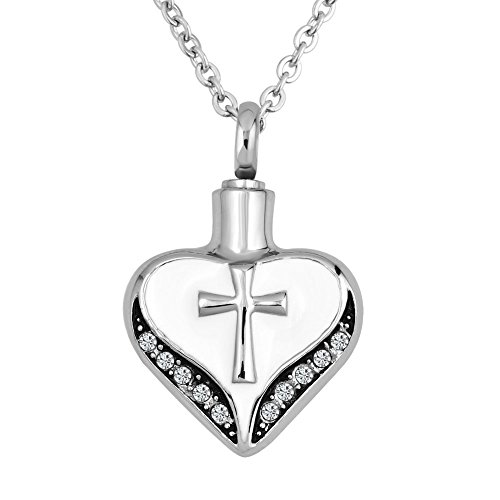 LovelyCharms Cross Cremation Heart Urn Necklace for Ashes Stainless Steel Keepsake Memorial