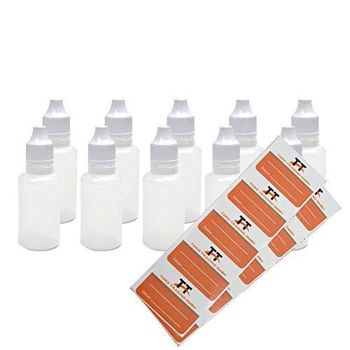 TORG TRADING Liquid-Flaschen 30ml - Kunststoffflaschen aus weichem PE (weiß/transparent/weißer Deckel) - mit Kindersicherung - Tropfflaschen,Dosierflaschen,Quetschflaschen (10)
