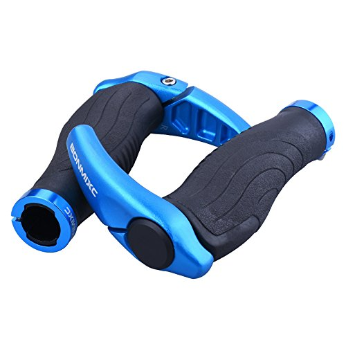 BONMIXC Bike Grips Ergonomic Non-Slip Mountain Bike Grips with Horns Bicycle Grips Shock Absorption Aluminum Alloy Rings Locking