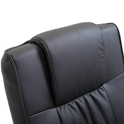 HOMCOM Deluxe Faux Leather Massage Recliner Chair Easy Sofa Armchair Beauty Couch Bed with Foot Stool Black