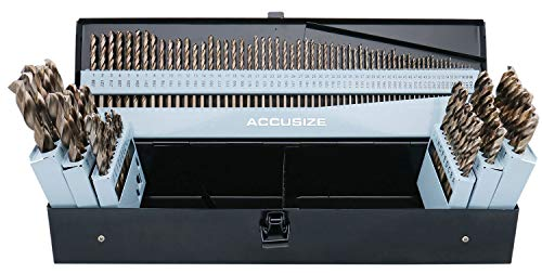 Accusize Industrial Tools M35-H.S.S. Plus 5% Cobalt 115 Pc Professional Drill Bit Set, 135 Deg Split Point, 3-in-1, 1/16-1/2'', Number 1 to 60, A to Z