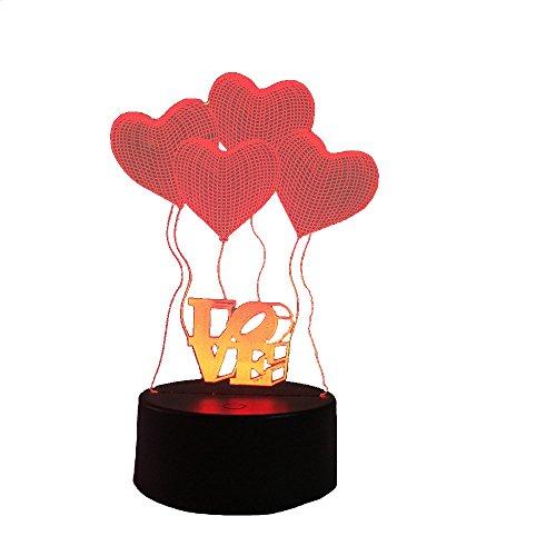 Conwea Lampe LED à illusion optique 3D Modèle d'amour Night Light 7 Changement de couleur USB Touche tactile LED Lampe de table à bureau