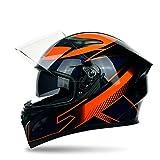 DOT Certified, Full Face Helmet, Motorcycle Helmet for Men, Comfortable Adult Bicycle Motorcycle Helmet, Unisex, Double Sun Visor, Effectively Protect The Head,Line,M