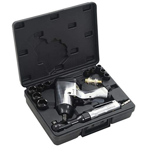 Festnight 16-teiliges Druckluftwerkzeug-Set inkl. Druckluft-Schlagschrauber Druckluft-Ratschenschlüssel Mini-Druckluft?ler ?lbeh?lter Sechskantschlüssel Stecknuss und Nippel
