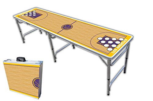 8-Foot Professional Beer Pong Table w/Holes - Los Angeles Basketball Court Graphic