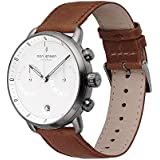 Nordgreen Pioneer Men's Chronograph Watch Scandinavian Gun Metal 42mm with White Dial and Brown Leather Strap 14014
