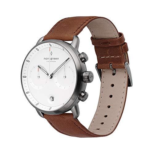 Nordgreen Pioneer skandinavische Herrenuhr in Anthrazit mit Weißem Ziffernblatt und austauschbarem 42mm Leder Armband Braun 14014