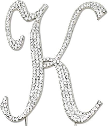Sparkly Rhinestones Letter K Cake Topper, Birthday Wedding Anniversary Silver Initial K