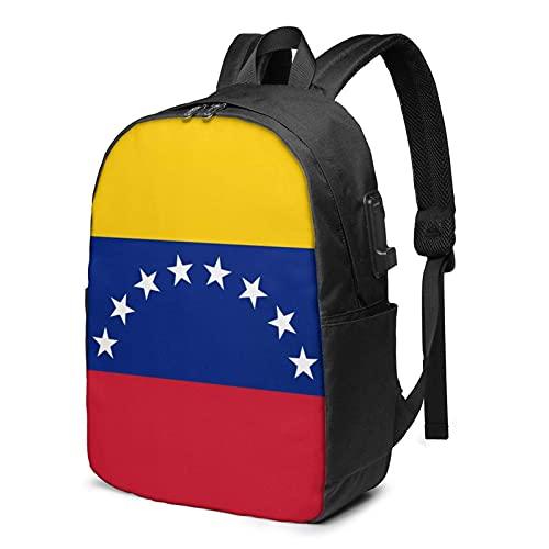 XCNGG Bandera de Venezuela Mochila para portátil de Viaje, Mochila con Puerto de Carga USB, para Hombres y Mujeres, se Adapta a 17 Pulgadas
