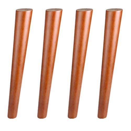 4 Stück Massivholz Gummi Holz Möbelfüße,Schräg Konisch Sofafüße,Tischbeine,für Stuhl/Kaffetisch/Nachttisch Ersatz,Walnuss-Farbe,400kg/882lb,mit Schrauben (15.7in(40cm))