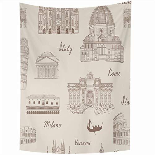 N\A Tapiz Colgante de Pared Doodle Viaje Mosaico Italia Famoso Dibujo Roma Romano Italiano Ciudad Arco Decoración del hogar Tapices Arte para vivirHabitación Dormitorio Dormitorio