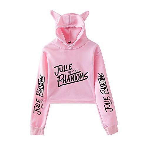 Julie and The Phantoms Kleidung Mädchen Casual Cat Cropped Hoodies Frauen Langarm Kapuzen-Sweatshirts für Männer Frauen Gr. M, rosa 1