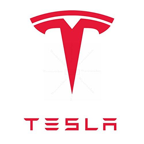 10cm! 2Stück! Aufkleber-Folie Wetterfest Made IN Germany kompatibel für: Tesla-2003 AD430-Logo UV&Waschanlagenfest Auto-Sticker Decal Profi Qualität bunt Digital-Schnitt!