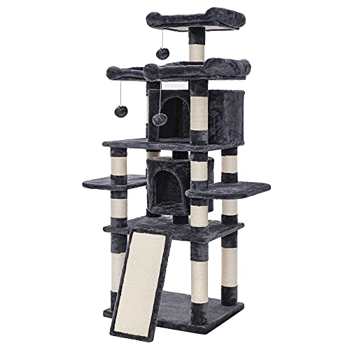 FEANDREA 67' Multi-Level Cat Tree for Large Cats, with Cozy Perches, Stable Cat Tower Cat Condo Pet Play House UPCT18G