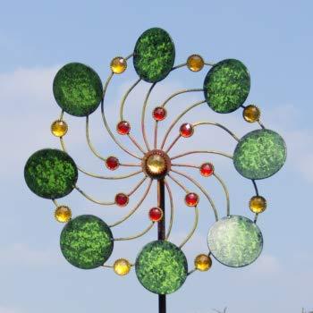 CIM Metall Windrad – Exotic Flower Samoa – Wetterfest – mit Kugellager – leichtgängig drehend – Ø34cm, Gesamthöhe: 122cm – inkl. 3-teiligem Standstab - 3