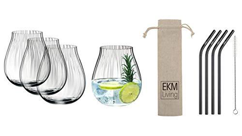 Riedel O 5515/67 Gin Tonic - Juego de 4 vasos ópticos para ginebra (incluye pajitas de acero inoxidable), color negro