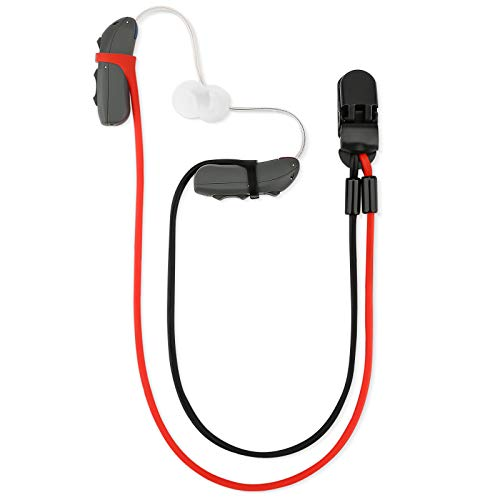Vivtone Hearing Aid Clip and Anti-Lost Lanyard, BTE Hearing Aids Protector for Adults Seniors and Kids, Elastic and Fashionable, Suitable for Various Hearing Devices (Black & Red)