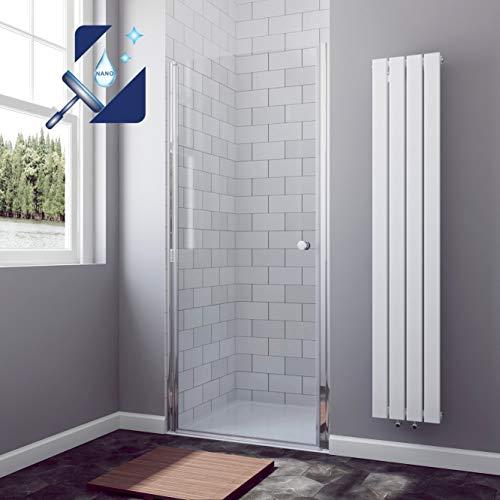 AQUABATOS® 90 x 195 cm Duschtür Duschabtrennung Nischentür Pendeltür Duschwand Schwingtür aus 6 mm ESG Glas mit Nano Beschichtung