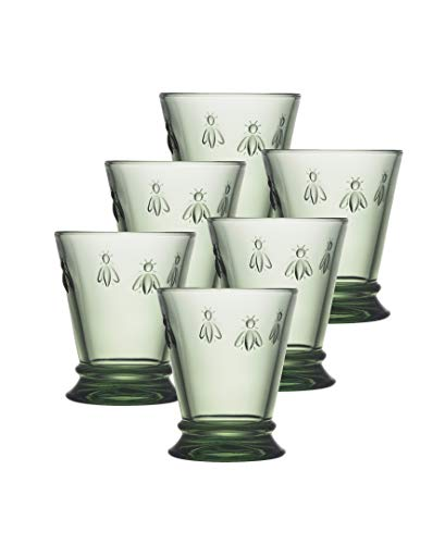 La Rochere Fine French Glassware Embossed with French Napoleon Bee 9 oz. Tumbler, Green Set of 6
