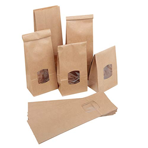 Logbuch-Verlag 10 kleine Gebäcktüten MIT FENSTER 10,5 x 6,5 x 29 cm Sichtfenster Tüten Beutel Bodenbeutel Standbeutel zum Befüllen Gebäck Gewürze Tee Kaffee