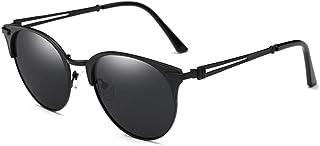 Fashion Outdoor Glasses Driving Driving Mirror Black Pink Polarized Sunglasses Men and Women Metal Half Frame Bright Sunglasses Retro (Color : Black)