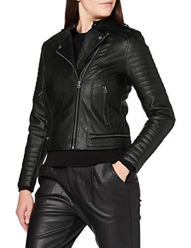 Pepe Jeans LENNA Chaqueta de cuero, Negro (999), Large para Mujer