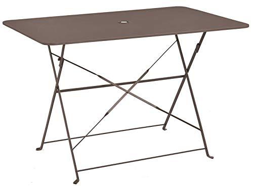 PEGANE Table Pliante rectangulaire en métal Coloris Crema - Dim : 110 x 70 x 70cm