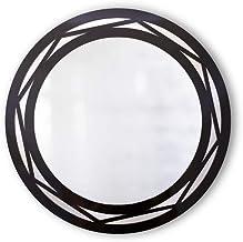 Mandala Redonda Acrílico com Espelho 30cm Estrela David Reduna Preto