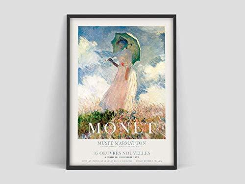 Claude Monet Poster, Frau mit Sonnenschirm, Kunstausstellungsplakat, Claude Monet Druck, Ausstellung Kunstdruck, Kunstdruck Familie rahmenlose dekorative Malerei Z8 70x100cm