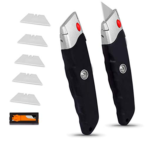 Internet's Best Premium Utility Knife - Set of 2 - Retractable Razor Knife Set - Extra Blade Refills - Box Cutter Locking Razor Knife