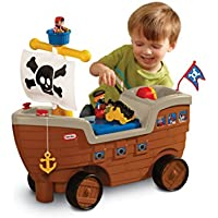 Little Tikes 2-in-1 Pirate Ship Ride-On Toy and Playset with Wheels, Under Seat Storage and Playset with Figures