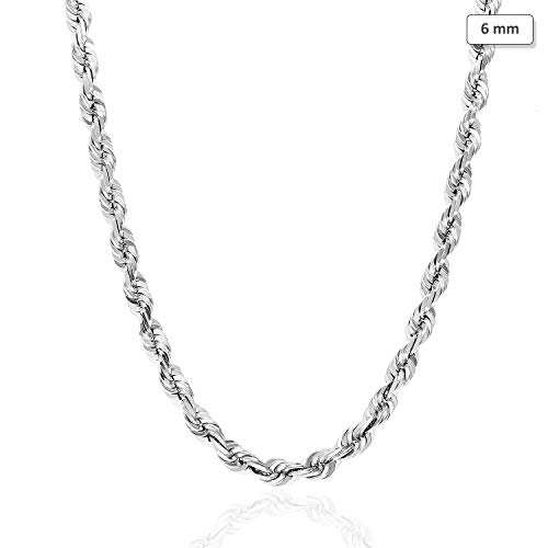 "14K Solid White Gold 6mm Diamond Cut Rope Chain Necklace 22"" 24"" 26"" 28"" 30"", 30"