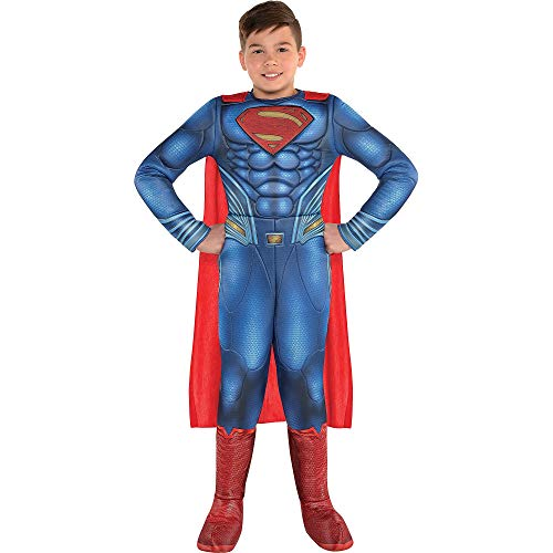 Costumes USA Justice League Part 1 Superman Muscle Costume for Boys, Size Medium, Includes a Padded Jumpsuit and a Cape