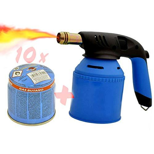 TronicXL Quemador de gas butano para la cocina doméstica, para soldadores, pastelerías, postres, soldadura, soldadura, crème brûlée, fuegos artificiales + 10 cartuchos de gas butano