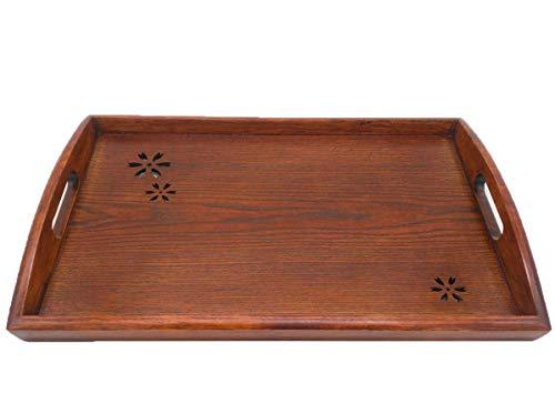 NANXCYR Pizza BoardPallet di legno vuoto ciliegio rettangolare Vassoio di tè domestico in legno Giapponese tazza di acqua Tazza da tè Piatto in legno 42 * 28,5 * 2,5 cm