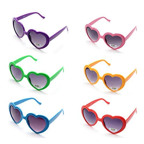 Onnea 6 Pares Gafas de Sol Fiesta Colores Paquete Años 80 (6-Pack)