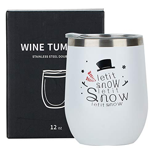 12oz Wine Tumbler with Lid, Stainless Steel Double Wall Vacuum Insulated Coffee Mug Travel Tumbler Cup, Best Winter Gifts Valentines day Gift for Women (Let it snow)