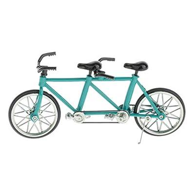 Mini Bicycle Handicraft - Handmade Metal Tandem Bike Model (1:16 Scale) - Decorative Creative Game Toy Gift - Select Colors - Blue