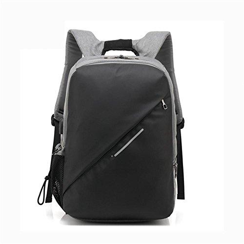 ZXJ Ordinateur Portable Sac à Dos 15 Pouces Nylon Sac à Dos Hommes Extérieur Voyage Épaules Forfait Sacs à Dos, Grey