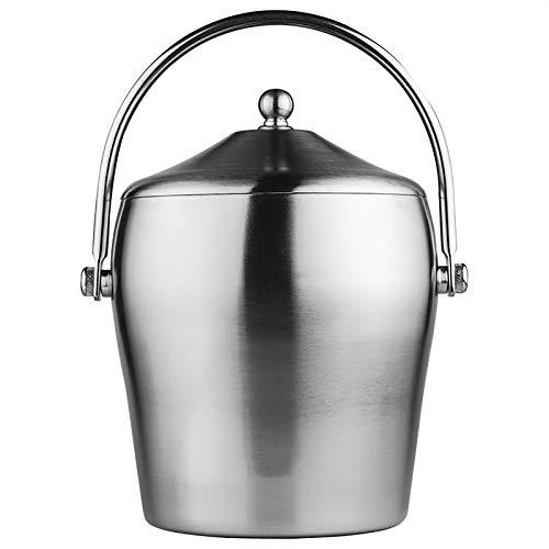 Accesorios para barra Cubo de hielo espesado de doble capa con tapa y asa Cubo de hielo Cubo de hielo en forma de tambor de acero inoxidable con abrazadera para hielo Juego(Size:5.5×8.7in,Color:S)