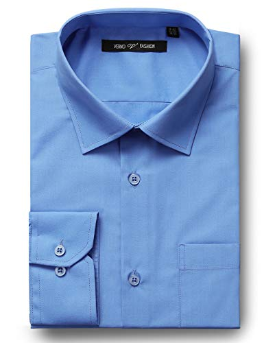Verno Fashion Men's Classic Fit Solid Dress Shirt Long Sleeve Spread-Collar Business Shirts (Light Blue, 17-17 1/2-32/33)