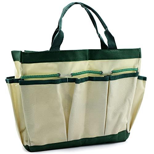 Bolsa de Almacenamiento Jardín para Herramientas de Jardinería Hogar Multiusos Oxford Organizador con 8 bolsillos, Plegable, Resistente al Desgaste y Reutilizable, Beige