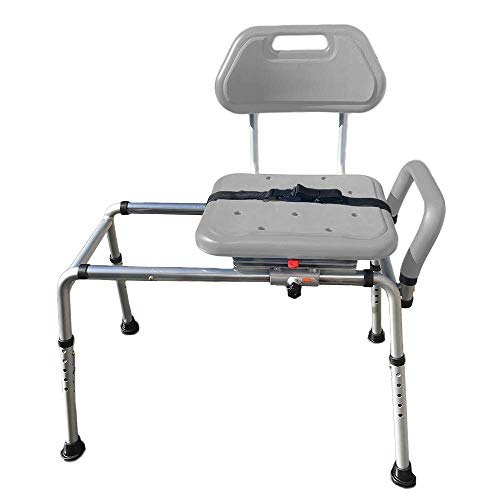 Gateway Premium Sliding Bath Transfer Bench with Swivel Seat-Padded (Gray)