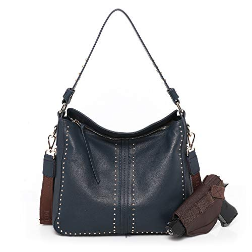 Montana West Genuine Leather Conceal Carry Purses For Women Pistol Crossbody Bag Navy MWL-G005NY