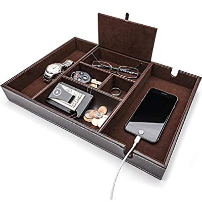 duke trays Nightstand Organizer, Valet Tray for Men and Women, EDC Tray Organizer, Dresser Top Organizer, Catchall Tray, Dark Brown Faux Leather, 6 Compartments