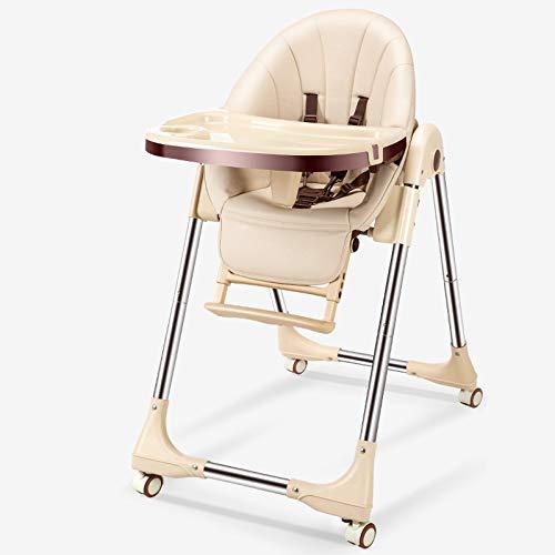 Hegpd Opbergbare eetkamerstoel, voor baby's, met wieltjes en wieltjes voor pasgeborenen, draagbaar, instelbaar, instelbaar, kinderzitje, eetkamerstoel