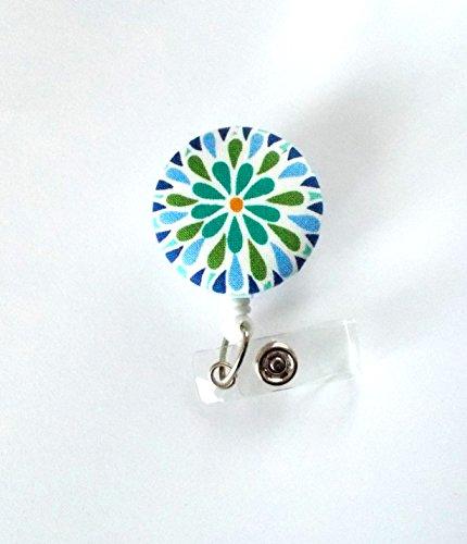 Blue Green Flower - Retractable ID Badge Holder - Cute ID Badge Reel - Name Tag Holder - Nursing Badge Clip - RN - Teacher Badge